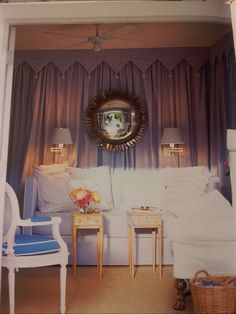 tented guesthouse room in blue and white ticking