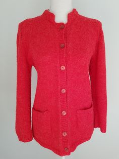 Vintage hand-knitted red cardigan | Yeah Yeah Retro