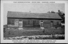 Hollenberg Pony Express Station, Hanover, Kansas The only original and… Kansas Day, Orphan Train, Old West Photos, Pony Express, Great Lakes Region, Life Photo, Vintage Pictures, Wild West, Rocky Mountains