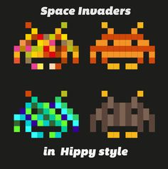 Space Invaders in Hippy style