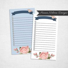 Personal planner printable list inserts for your filofax, Kikki K or other ring binder planner instant download