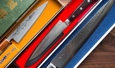 Japanese Knife Collection in the ChefSteps 2015 Gift Guide Japanese Cooking Knives, Japanese Kitchen Knives, Japanese Chef, Cooking Mussels, Cooking Red Lentils, Cooking Hard Boiled Eggs, Specialty Knives, Chef Knife, Sashimi