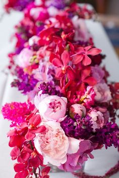 Such beauty only exists in the tropics! {INvita Wedding + Event Designers} Wedding Flower Arrangements, Wedding Centerpieces, Wedding Bouquets, Floral Arrangements, Wedding Decorations, Tall Centerpiece, Wedding Ideas, Floral Wedding, Wedding Colors