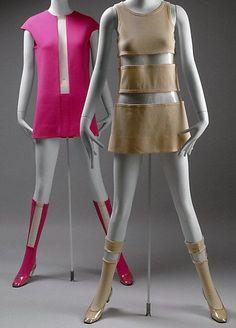 Rudi Gernreich - Robe Mini et Bottes 'Chaussettes' - Jersey Laine et Plastique Transparent - 1967
