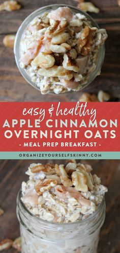 Easy and Healthy Apply Cinnamon Overnight Oats | Meal Prep Breakfast - Looking for a healthy overnight oats recipe to make-ahead for breakfast? This Apple Cinnamon Overnight Oats is filled dried apples, cinnamon, and unsweetened coconut milk to create a delicious meal prep breakfast. Click for the recipe! Organize Yourself Skinny | Healthy Breakfast Ideas for Weight Loss | Meal Planning Breakfast | Meal Prep for Beginners #breakfast #overnightoats #mealprep Healthy Meal Prep, Healthy Breakfast Recipes, Healthy Food, Healthy Brunch, Vegetarian Breakfast, Healthy Recipes, Skinny Recipes, Brunch Recipes, Vegetarian Recipes