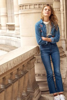 madewell cali demi-boot jeans worn with the embroidered cutoff denim shirt + retro tee.