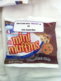 "Motivational gift, cheer candy, inspirational, cheerleading, team gift, coaches gifts, ""give it your all or MUFFIN at all"", mini muffins, candy sayings, candy grams, DIY, cheer gram, competition good luck, food puns, gift, cheer treat"