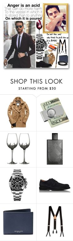 """Rudy- office(Davina hiding)- 1961"" by rebeccaelizabethmattox ❤ liked on Polyvore featuring Superdry, American Coin Treasures, Waterford, Burberry, Rolex, Tod's, Michael Kors, Trafalgar and Topman"