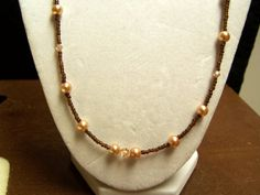 Simple Brown Pearl and Crystal Necklace by momsjewels on Etsy, $14.00