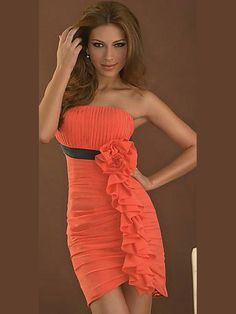 Tight Sheath / Column Strapless Short / Mini Chiffon Orange Homecoming Dresses - $121.99 - Trendget.com