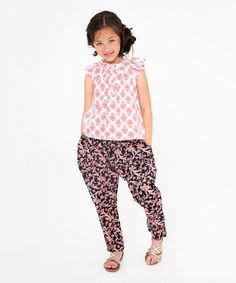 Another great find on #zulily! Pink & Black Cap-Sleeve Tunic & Pants - Toddler & Girls by Yo Baby #zulilyfinds