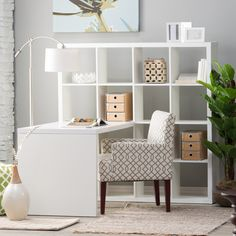 Hudson 16-Cube Shelf with Desk - White - The contemporary 16-Cube Shelf with Desk – White brings efficient storage and a comfortable work surface to the home or office. A wonderfully ve...