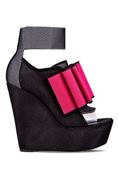 John Galliano Black Open-Toe Trainers Wedge with Pink Bow €980 Spring Summer 2014 #Shoes #Wedges