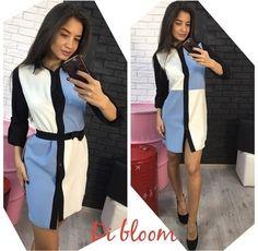 Одежда Платье-рубашка шикарное яркое чудное на пуговицах в квадрат двуцветное голубой