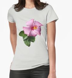 'Pink and Yellow flower, Green leaves' T-Shirt by Rolling-Store . Team Bride, Team Usa, Yellow Sunflower, Yellow Flowers, Watercolor Sunflower, Green Leaves, Watercolor Paintings, Chiffon Tops, Classic T Shirts