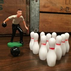 Vintage Bowling Man Cake Toppers Ball and 10 Pins Bowling Alley Strike by vintagebaron on Etsy