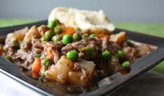 Stay warm with this Simple Beef Stew with Root Vegetables and Peas recipe, via Food from the 12.