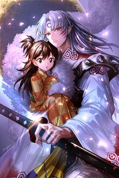 Sesshomaru and Rin from Inuyasha Amor Inuyasha, Rin And Sesshomaru, Inuyasha Fan Art, Inuyasha And Sesshomaru, Kagome And Inuyasha, Kagome Higurashi, Inuyasha Funny, Manga Dbz, Demon Manga
