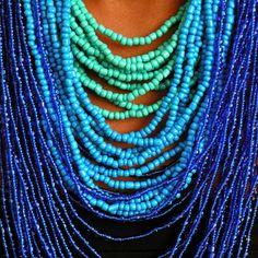 Blue: Strands of blue beads