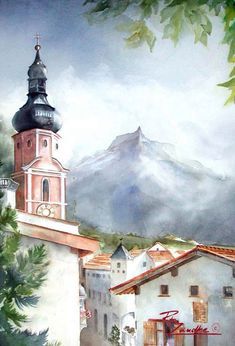 Castelrotto Village - Watercolor of Italy