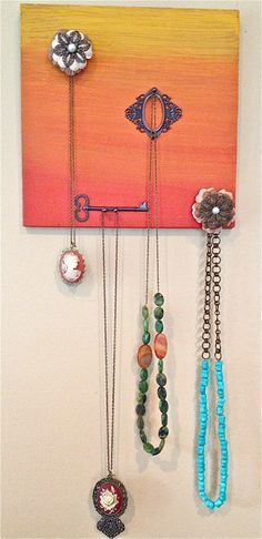 DIY Jewelry Display with Necklaces... This blog has a lot of cool handmade projects also
