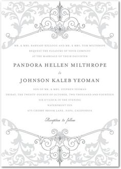Signature White Wedding Invitations Regal Refinement - Front : Amethyst