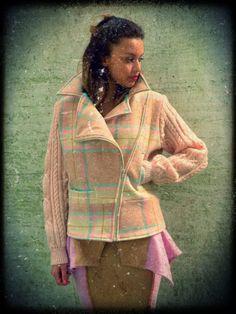 Upcycled Welsh Wool Blanket Biker Pastel Pink Plaid Jacket £149 https://www.etsy.com/uk/shop/darrylblack