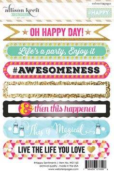 Websters Pages - Happy Collection - Cardstock Stickers - Sentiments Journal Stickers, Scrapbook Stickers, Journal Cards, Planner Stickers, Printable Paper, Printable Stickers, Free Printable, Websters Pages, Freebies