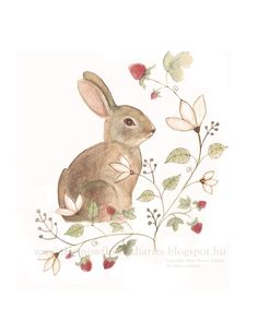 Happy Easter postcard painted by Maja Matyas Szilagyi Easter Drawings, Animal Drawings, Art Drawings, Painting Illustrations, Bunny Tattoos, Rabbit Tattoos, Rabbit Drawing, Rabbit Art, Hase Tattoos