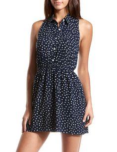 Polka Dot Challis Shirt Dress: Charlotte Russe I will always love polka dots!