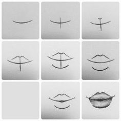 Delineate Your Lips Tutorial. How to draw lips :) - How to draw lips correctly? The first thing to keep in mind is the shape of your lips: if they are thin or thick and if you have the M (or heart) pronounced or barely suggested. Pencil Art Drawings, Art Drawings Sketches, Easy Drawings, Drawings Of Faces, Simple Cute Drawings, Drawing People Faces, Draw Faces, Horse Drawings, Art Illustrations