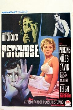 Psycho, 1960 - original vintage movie poster for the film directed by Alfred Hitchcock listed on AntikBar.co.uk