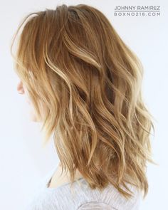 natural blonde ombre medium length hair wavy highlights light brown