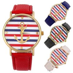Multi-Color Striped Anchor Faux Leather Quartz Wrist Watch, $1