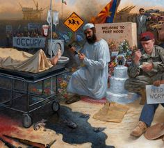 """Jon McNaughton.....  """"This is a part of my painting called 'Obamanation'.   How many spymbols can you pick out of this tiny segment of the painting? I'm currently working on a new painting that will probably get me in trouble, but nothing new there."""""""
