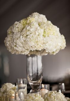 Tall Wedding Centerpiece with White Hydrangeas