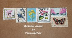 Reserved Custom Order for jillybean9587 .. Custom order of Unused vintage postage stamps with a floral theme for mailing wedding invitations.  Sold at Etsy by TreasureFox, $175.00