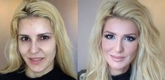 While some artists have mastered the Photoshop brushes to give some of their models a much needed face or eye lift, Russian artist Vadim Andreev uses those from Amazing Makeup Transformation, Eye Makeup Blue, Face Makeup, Vintage Makeup, Vadim Andreev, Makeup Trends, Make Up Gesicht, Perfectly Posh, Big Hair