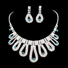 Royal Blue Rhinestone Crystal Regal Statement Bridal Bridesmaid Necklace Earring Silver Tone