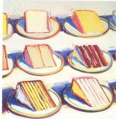 Best Ideas For Pop Art Painting Ideas Wayne Thiebaud Pop Art Artists, Food Artists, Famous Artists, Male Artists, Wayne Thiebaud Cakes, Wayne Thiebaud Paintings, Richard Diebenkorn, Food Art Painting, Cake Painting