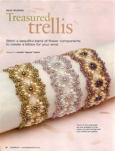 "found these beautiful ""Treasured Trellis"" beaded bracelets at http://biser.info/node/241450 although it looks like this is a page from Bead magazine.  The directions follow."