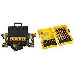 DEWALT DCK299P2 20V MAX XR Lithium Ion Brushless Premium Hammerdrill & Impact Driver Combo Kit, 5.0 Ah with Titanium Speed Tip Drill Bit Set