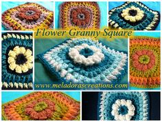 Free crochet pattern: 6″ Flower Granny Square with tutorial by Meladora's Creations