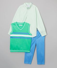 $9.99 Love this Green Stripe Vest Set - Toddler & Boys on #zulily! #zulilyfinds