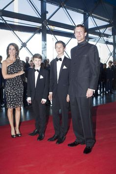 (R-L) Danish Prince Joachim with his sons Prince Nikolai, Prince Felix and his wife  Princess Marie arrives for the HRH the Prince Consort's 80th birthday is celebrated with a large, televised party performance in the DR koncerthusetm 01.06.2014