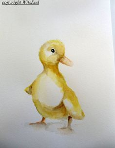 "prints now available in my Etsy shop! 'THE FARM NURSERY - Little Duckling"" (2nd of series).Baby Duck painting original watercolor nursery Farm by 4WitsEnd, via Etsy. Select prints now available in my Etsy Shop!"