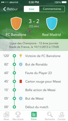 iOS7 Event screen update by Alexandre Naud / deportes futbol / soccer sports app design example