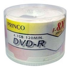 50 Princo 8X DVD-R 4.7GB White Top by Princo. $17.98. High quality organic dye recording layer materials improve short wavelength recording characteristics for reliable recording and playback. Precise substrate molding and improved disc bonding technologies effectively control tilt of the disc for outstanding reliability and durability. Compatible format for DVD-ROM master disc production and a high capacity for archive storage DVD-R 4.7GB Media is suitable for all ma...