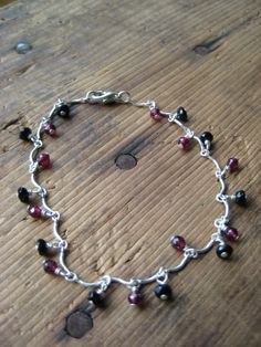 SALE Garnet and Onyx and Sterling Silver by hoitytoitydesigns, $13.00