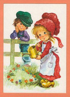 Vintage postcard cute big eyed boy and girl by bluumievintage, $4.50